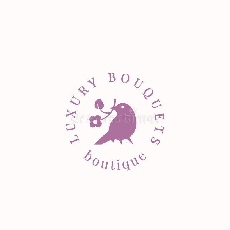 Luksusowych bukietów wektoru Abstrakcjonistyczny znak, symbol lub loga szablon, Ptak trzyma kwiat sylwetkę z Nowożytną typografią ilustracji