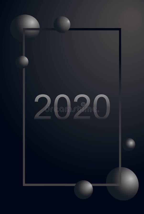 2020 luksusowych kartek z pozdrowieniami sreber liczba dwa tysiące, dwanaście i szara piłka w gradientu pionowo ramie na matte cz ilustracja wektor