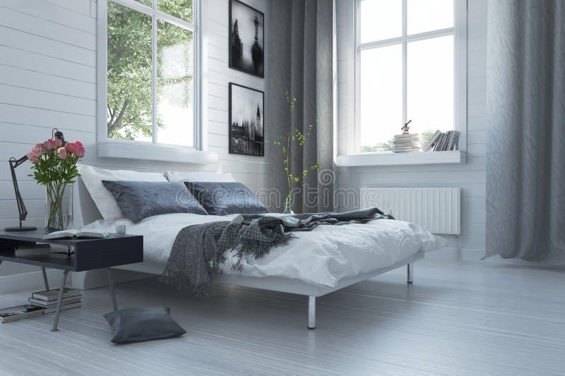 Luksusu popielaty i biały nowożytny sypialni wnętrze ilustracji