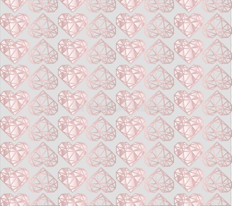 Luksusu różowy i jasnopopielaty diamentowy kierowy bezszwowy wektoru wzór ilustracji