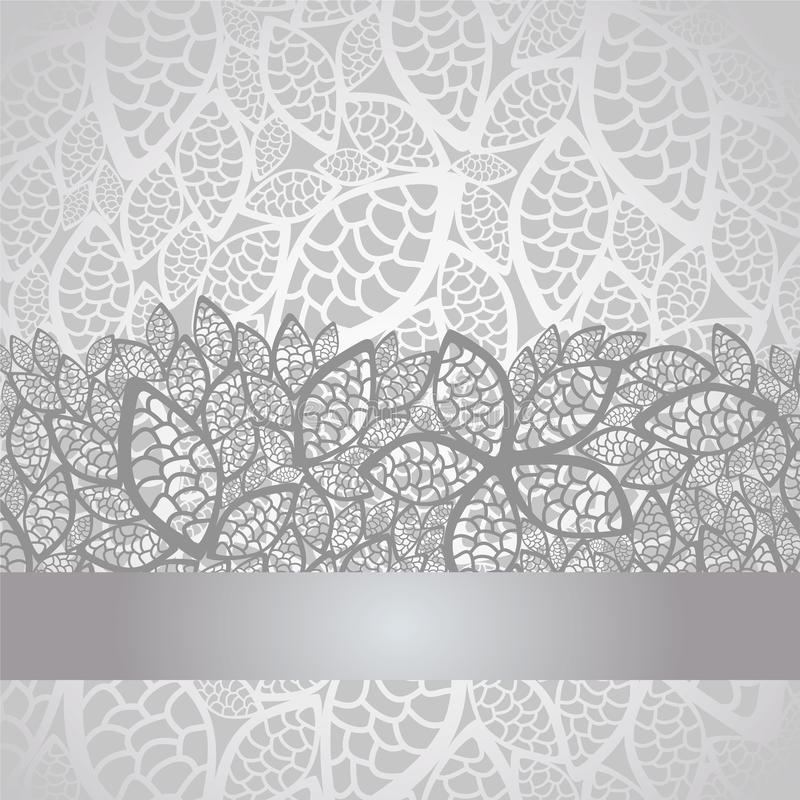 Luksusu srebra liść koronki granica i tło ilustracja wektor
