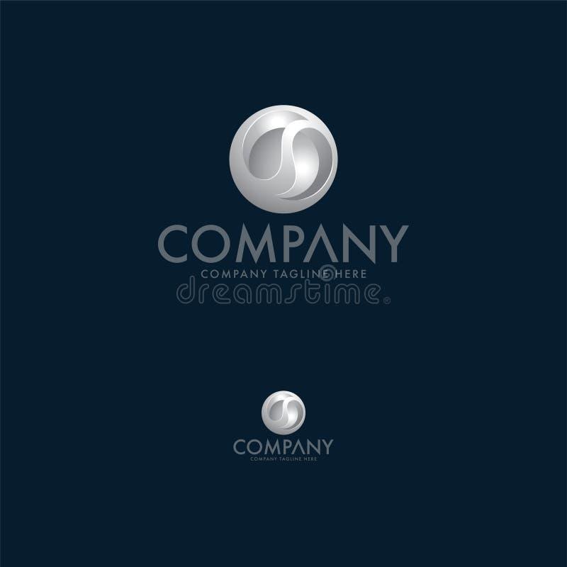 Luksusu srebra listu 3d logo projekta szablon royalty ilustracja