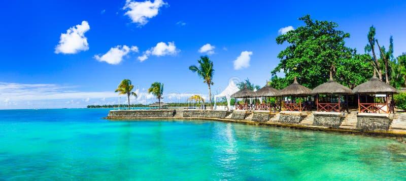 Luksusu wakacje w tropikalnym kurorcie Mauritius wyspa obraz stock