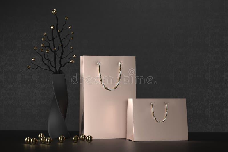 Luksusu złota papieru różana torba na zakupy z rękojeściami Wyśmiewa W górę Premii czerni pakunek dla zakupu mockup na czerni royalty ilustracja