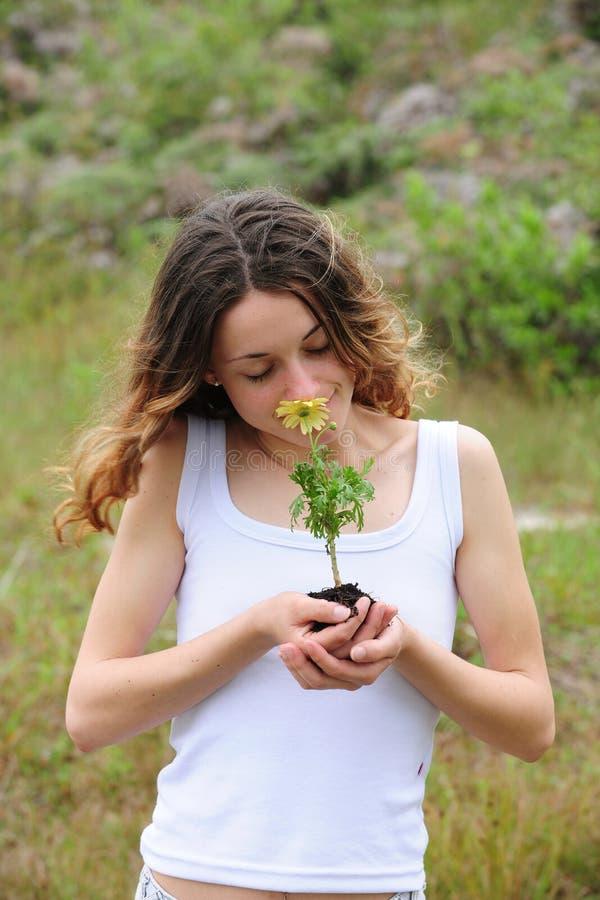lukta kvinna för blomma royaltyfri foto