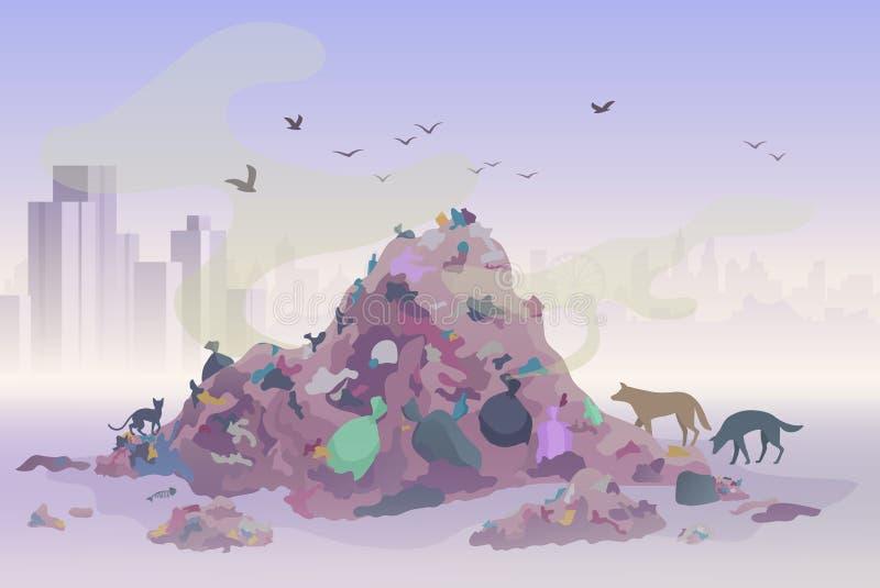 Lukta nedgrävning av soporavfallslandskap med stadsskyskrapor på bakgrunden Vektor för föroreningmiljöbegrepp stock illustrationer