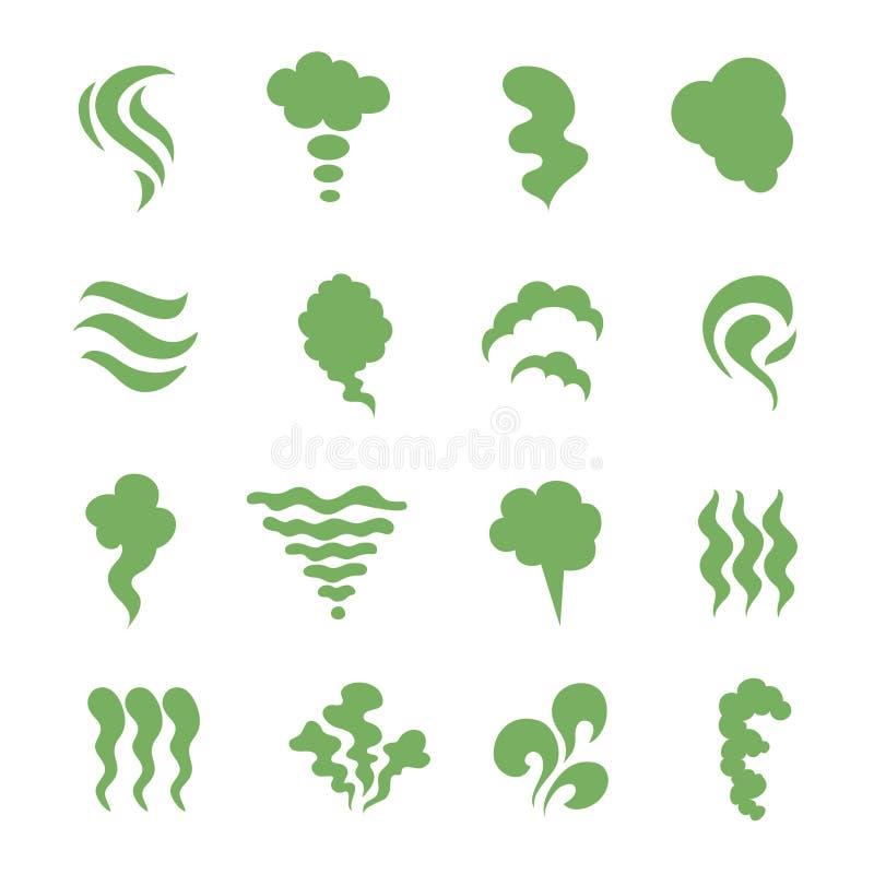 Luktsymboler Ånga stank, dunst och laga mat ånga Den gröna förföll matlukten isolerade symboler vektor illustrationer
