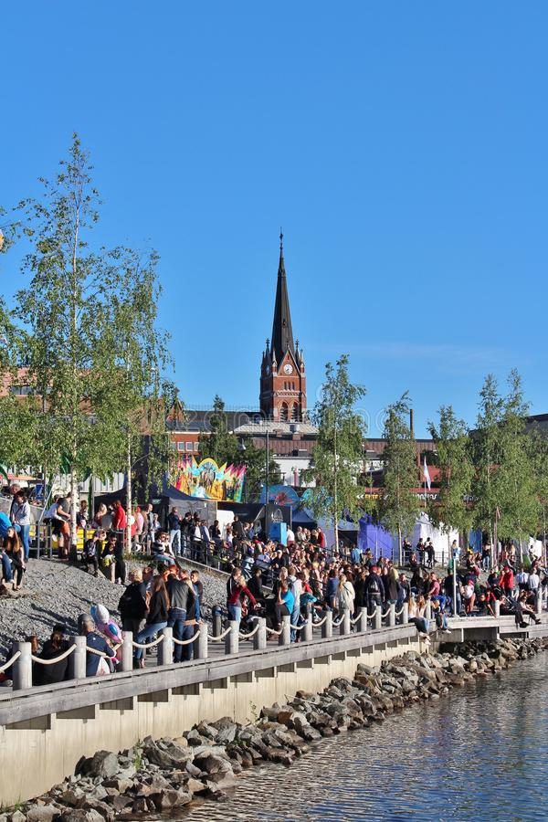 Luleå Harbor Festival. In Northern harbor a sunny summer evening in July stock photo