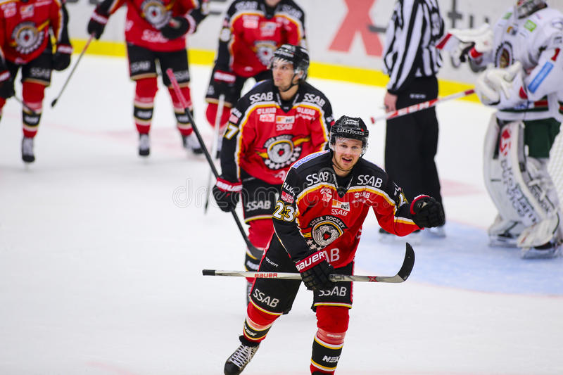 Lulea, Sweden - March 18, 2015. Lucas Wallmark (#23 Lulea Hockey) celebrating a goal. Swedish Hockey League-game, between Lulea. Hockey and Frolunda Indians royalty free stock photo