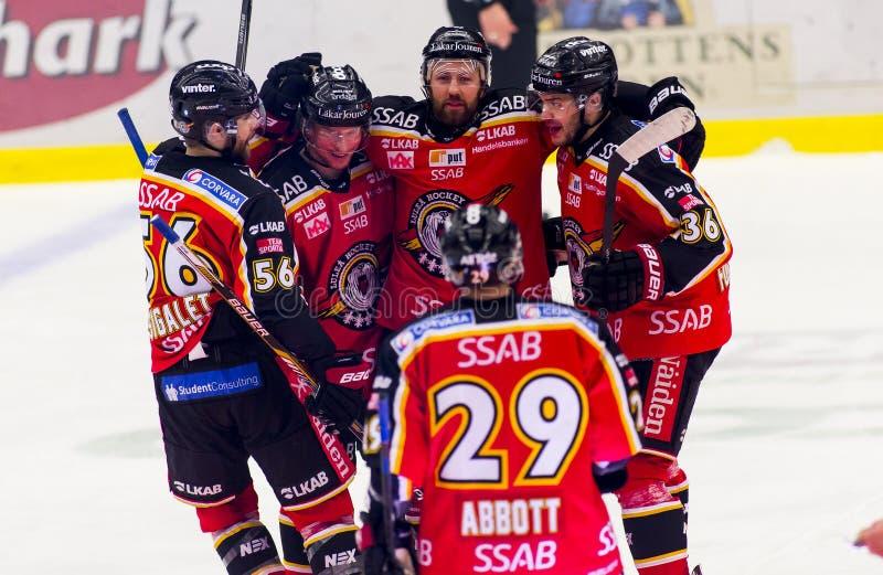 Lulea, Sweden - March 18, 2015. Per Ledin (#97 Lulea Hockey) celebrating his goal! Swedish Hockey League-game, between Lulea royalty free stock photography