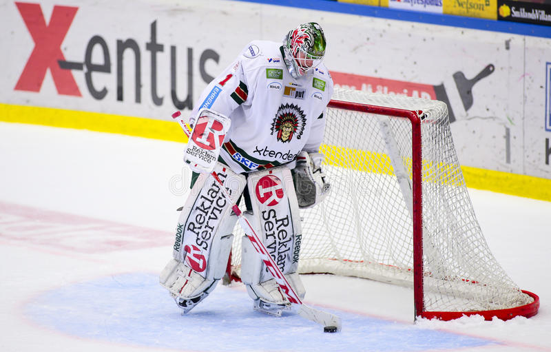 Lulea, Sweden - March 18, 2015. A very disappointed Lars Johansson (#1 Frolunda Indians), during the Swedish Hockey League-game be. Tween Lulea Hockey and stock images