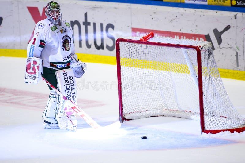 Lulea Szwecja, Marzec, - 18, 2015 Bardzo rozczarowany Lars Johansson podczas Szwedzkiej Hokejowej gry, był (-1 Frolunda indianie) obrazy stock