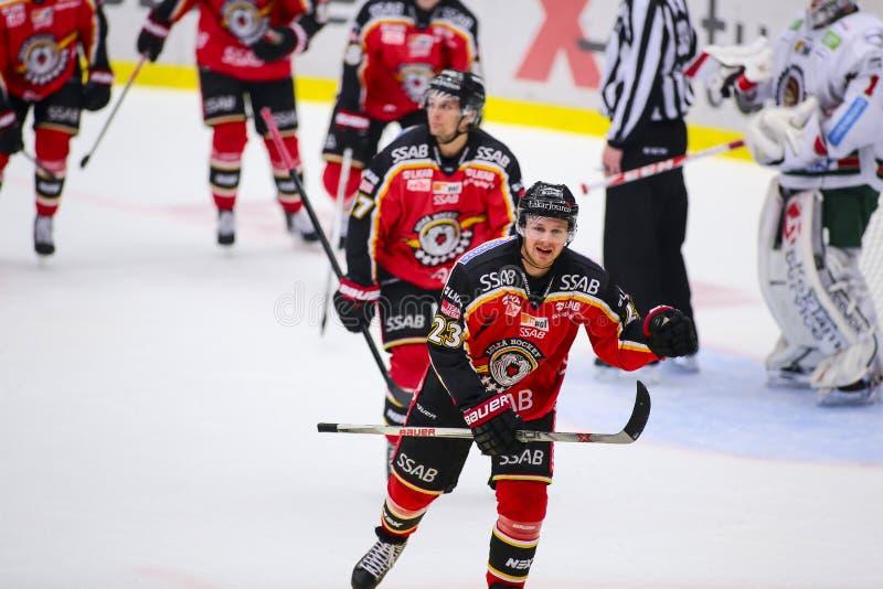 Lulea Szwecja, Marzec, - 18, 2015 Lucas Wallmark świętuje cel (-23 Lulea hokej) Szwedzka Hokejowa gra między Lulea, zdjęcie royalty free