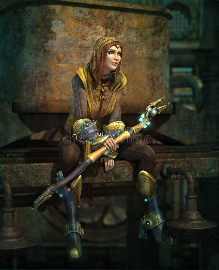 Lull in the Battle 3d CG. 3d computer graphics of a young woman with a fantasy outfit and a luminous rod vector illustration