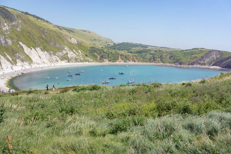 Lulworth小海湾和侏罗纪海岸 免版税库存图片