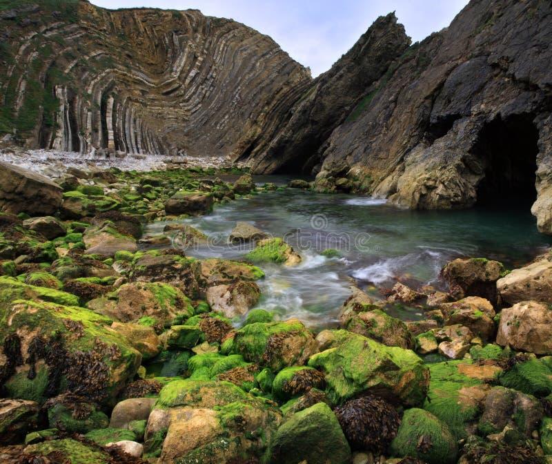 Lulworth Bucht vertorama - Dorset-Küste, England stockbilder