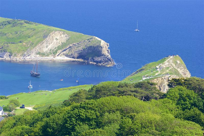 Lulworth Cove - Beautiful beaches of Dorset, UK stock photos