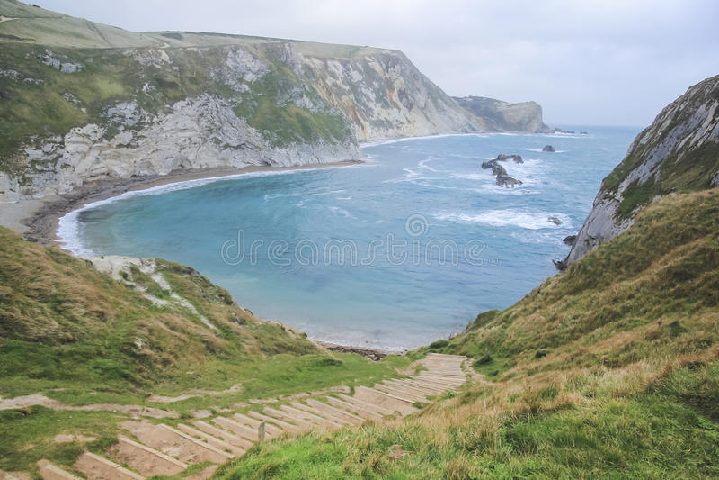 Lulworth england för dor för Dorset kustlinjedurdle fotografering för bildbyråer
