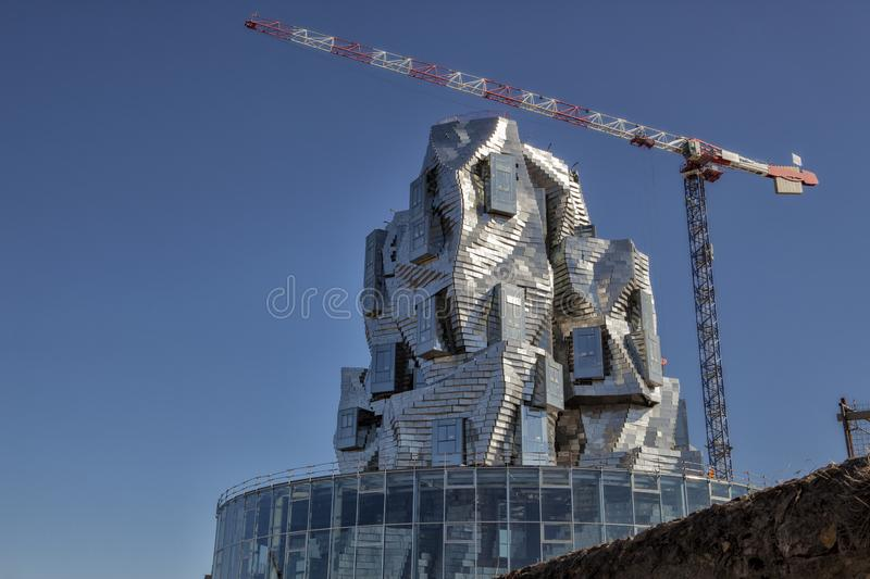 Luma Tower - Frank Gehry, Arles, France. In the southern french city of Arles, a Frank Gehry designed tower is completed above the contemporary art center Parc royalty free stock photo