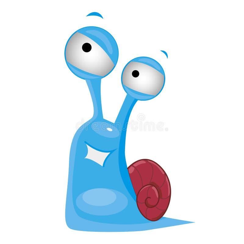 Lumaca blu sveglia con il sorriso illustrazione di stock