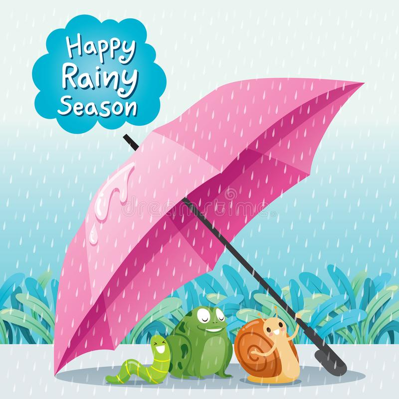 Lumaca, rana e verme sotto l'ombrello su terra insieme nel Ra illustrazione di stock