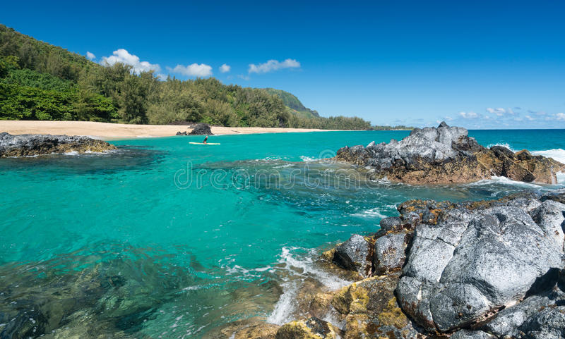 Lumahaistrand Kauai met rotsen en surfer stock afbeelding