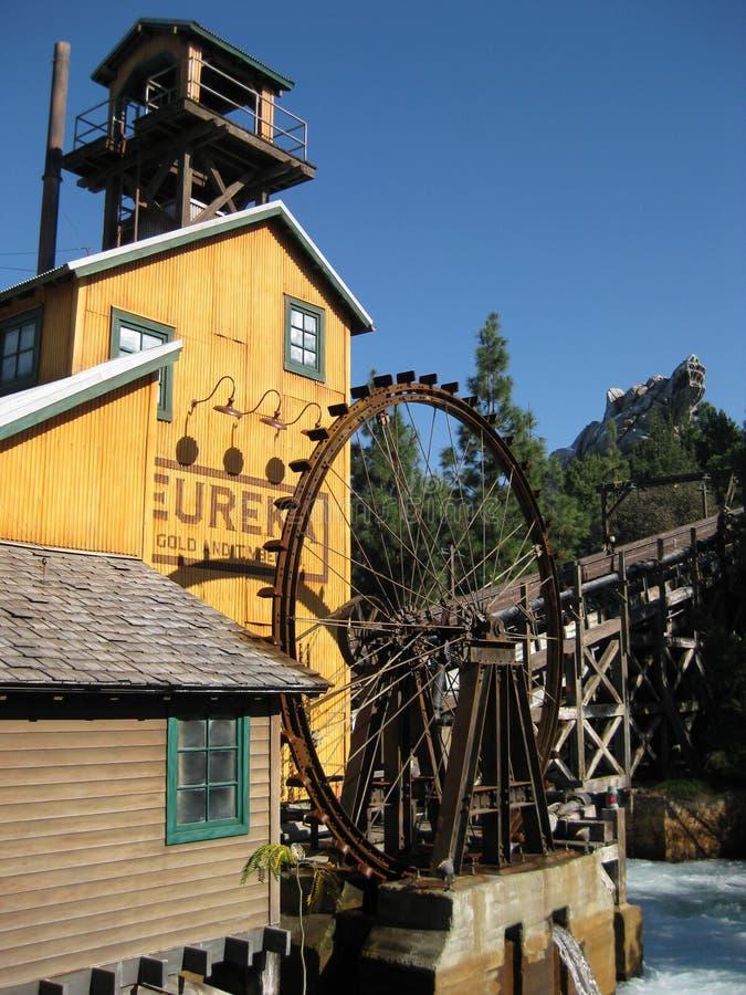 Lumber Mill. At Disney's California Adventure. Mill has a water wheel royalty free stock photo