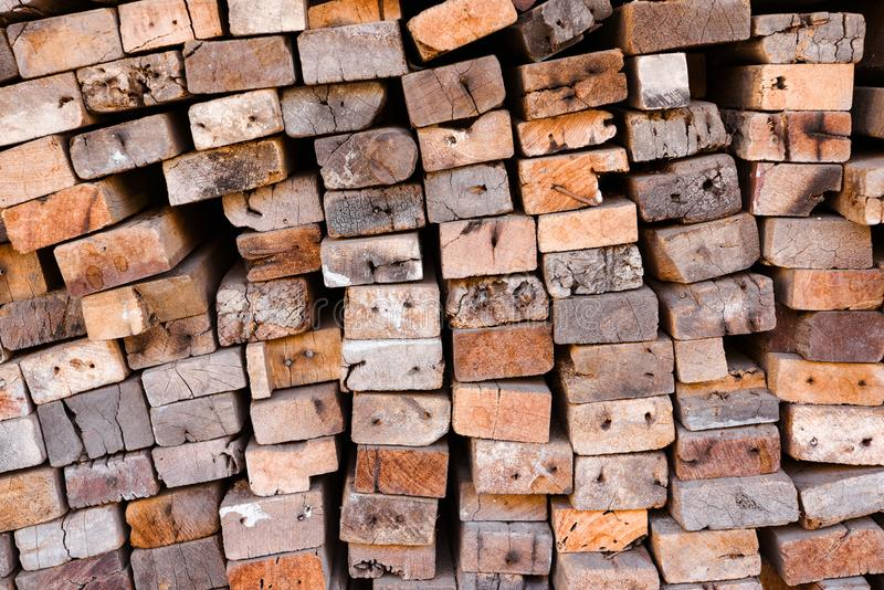 Lumber mill with full of cutting woods warehouse. Factory and production. Environment industry and structure concept. Stack, sawmill, pile, rough, texture royalty free stock images