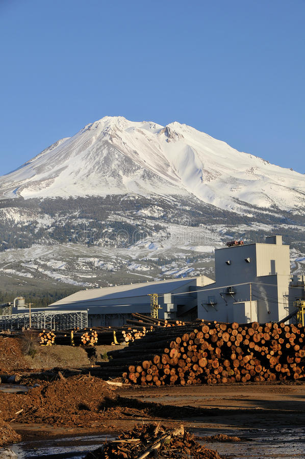 Lumber mill in shadow of mountain royalty free stock photography