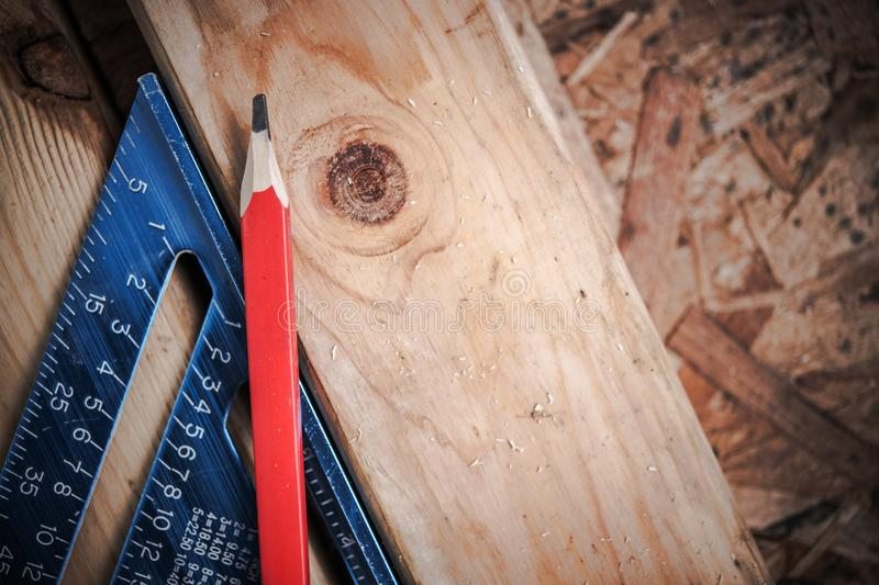 Lumber Woodwork Creation. Wood Construction Tools Concept royalty free stock image
