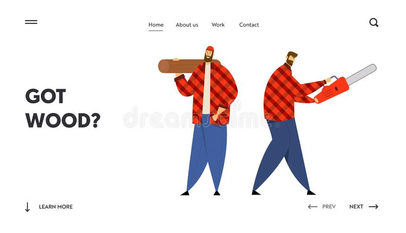 Lumber Workers with Working Equipment and Tools Website Landing Page, Couple of Lumberjack Holding Chainsaw vector illustration