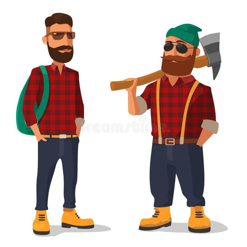 Lumberjack и битник в ботинках желтого цвета и красной рубашке шотландки Иллюстрация вектора плоская на белой предпосылке иллюстрация вектора