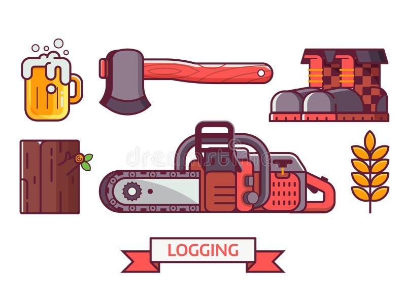 Lumberjack и внося в журнал комплект значка иллюстрация вектора