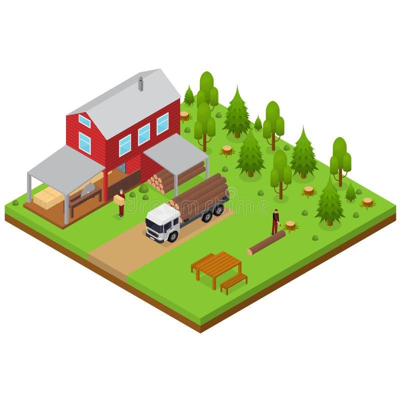 Lumberjack и лесопилка строя равновеликий взгляд вектор иллюстрация вектора
