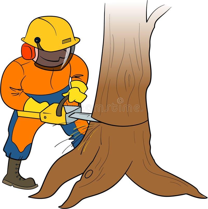 Lumberjack на работе бесплатная иллюстрация