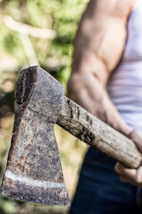 Lumberjack. Arm of a muscular woodcutter at work royalty free stock photography