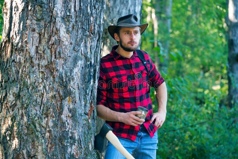 Lumberjack with axe on forest background. Man doing mans job. A handsome young man with a beard carries a tree. Stylish. Young man posing like lumberjack stock image