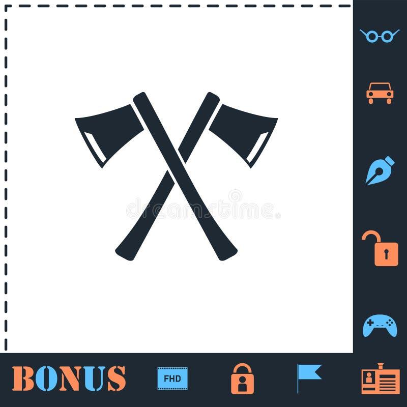 Lumberjack axes crossed icon flat stock illustration
