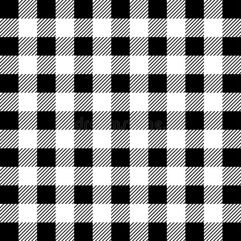 Lumberjack Bawoliej szkockiej kraty Bezszwowy wzór Biały i Czarny Lumberjack ilustracja wektor