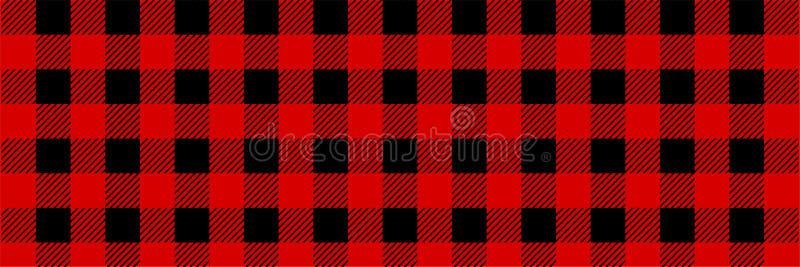 Lumberjack Bawoliej szkockiej kraty Bezszwowy wzór Czerwony i Czarny Lumberjack royalty ilustracja