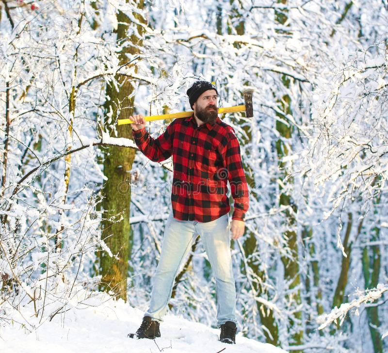 Lumberjack brutal bearded man with beard and moustache on winter day, snowy forest. Lumberjack in the woods with an ax. Bearded man in hat with a hatchet stock photography