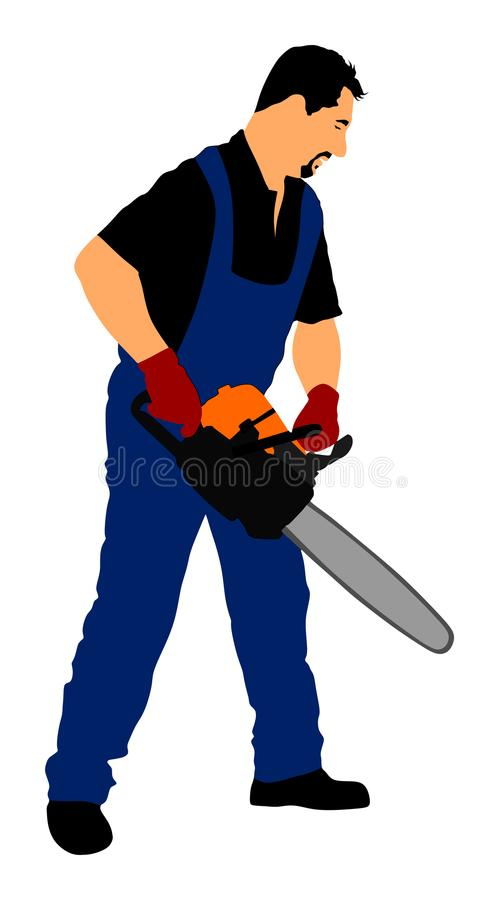 Lumberjack with chainsaw vector isolated on white background. woodpecker on duty. Logger worker. Lumberman in action. vector illustration