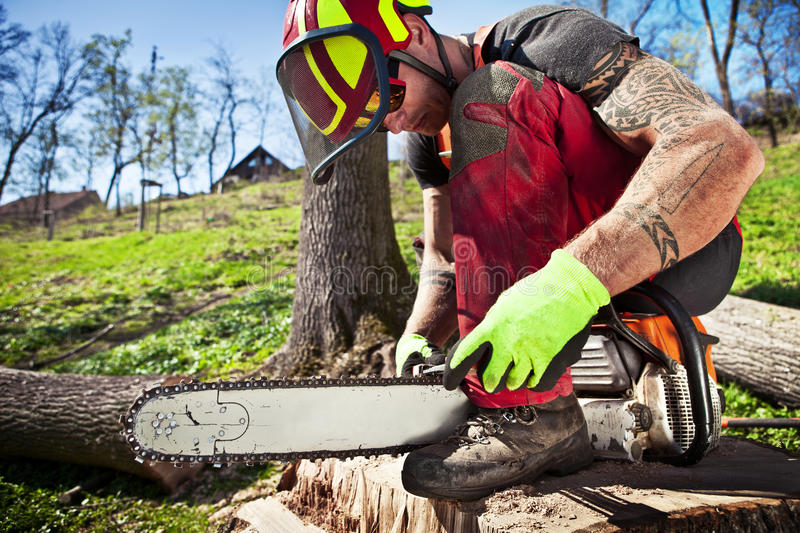Lumberjack with chainsaw. After work royalty free stock photography