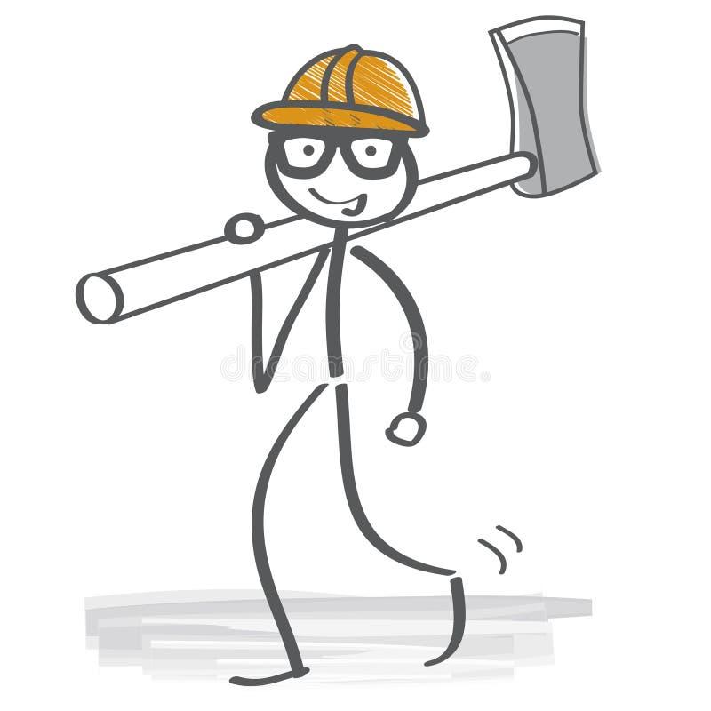 Lumberjack charakter trzyma cioskę ilustracja wektor