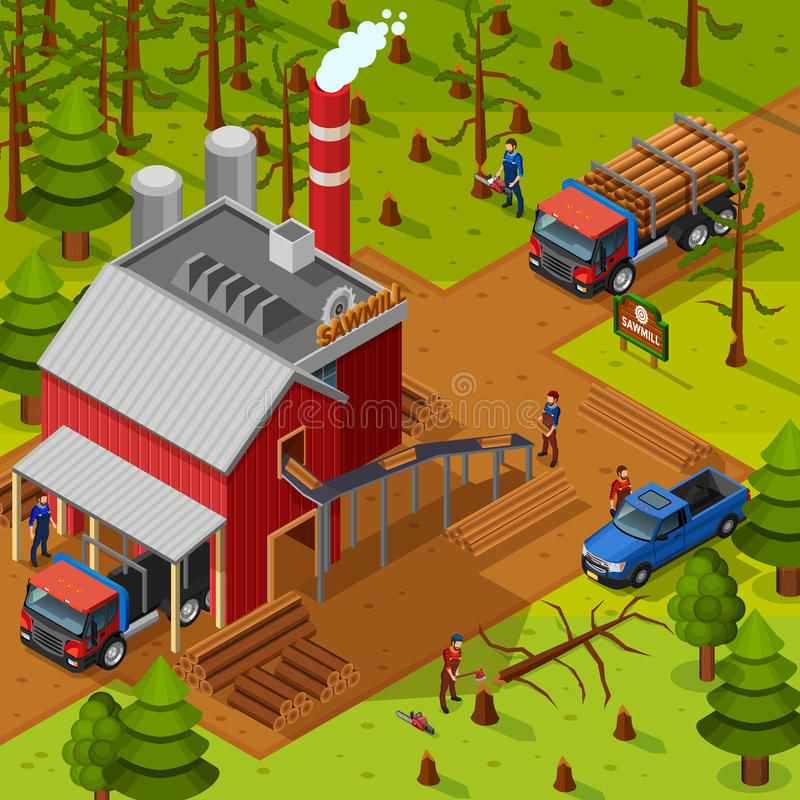Lumberjack Isometric Composition vector illustration