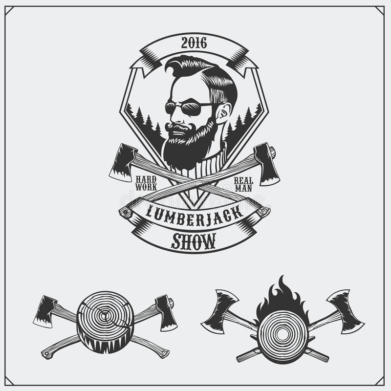 Lumberjack label, axes and design elements. Hipster vintage style. royalty free illustration