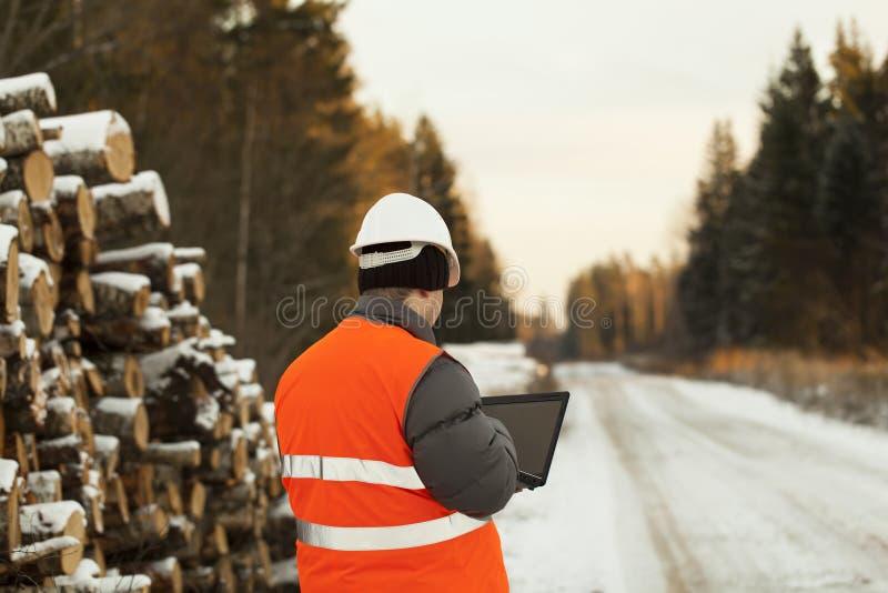 Lumberjack med datoren arkivbilder
