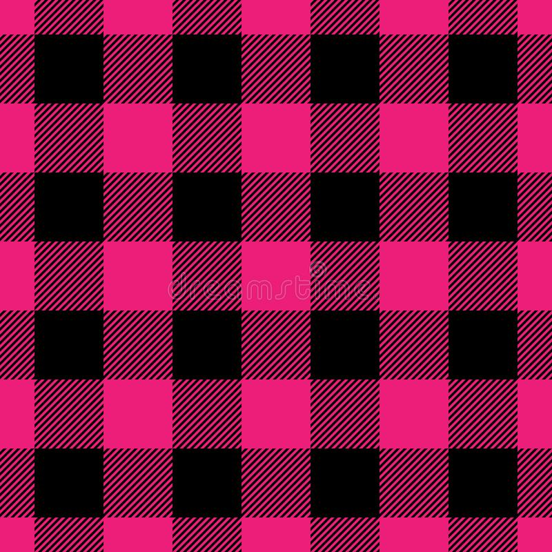 Lumberjack plaid pattern in pink and black. Seamless vector pattern. Simple vintage textile design royalty free illustration