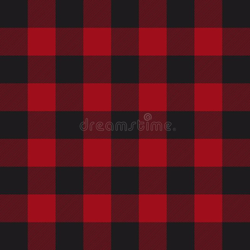 Lumberjack plaid pattern. Red and black lumberjack. royalty free illustration
