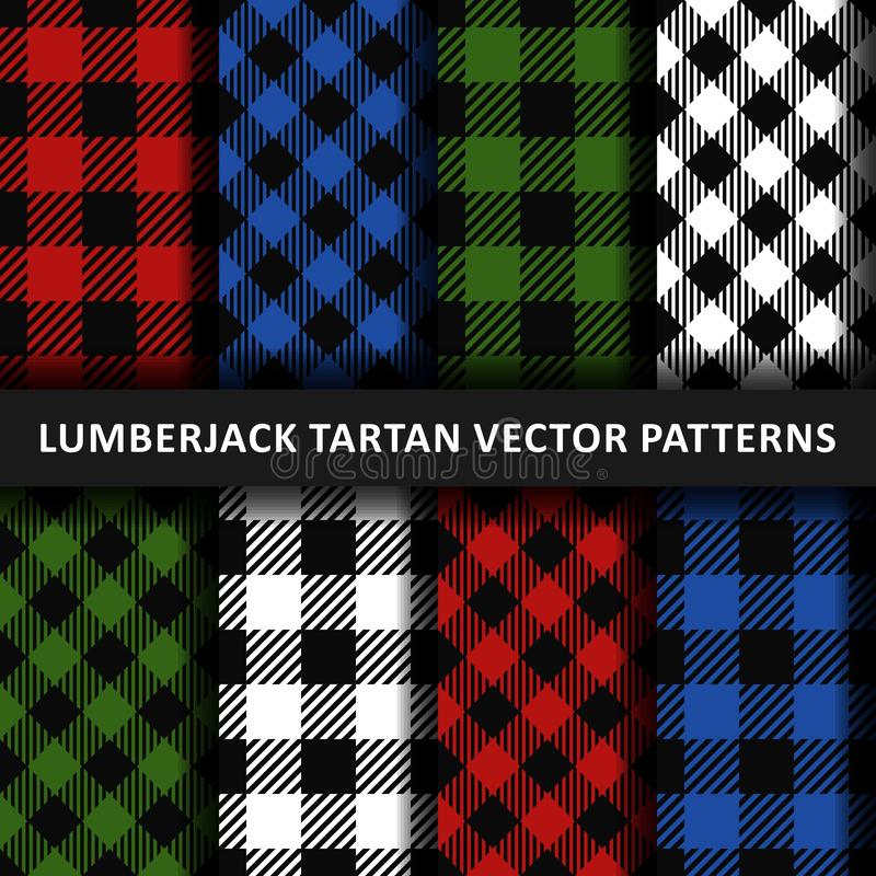 Lumberjack plaid seamless pattern flannel set, Alternating colorful squares checkered, Trendy Hipster Style Backgrounds vector illustration